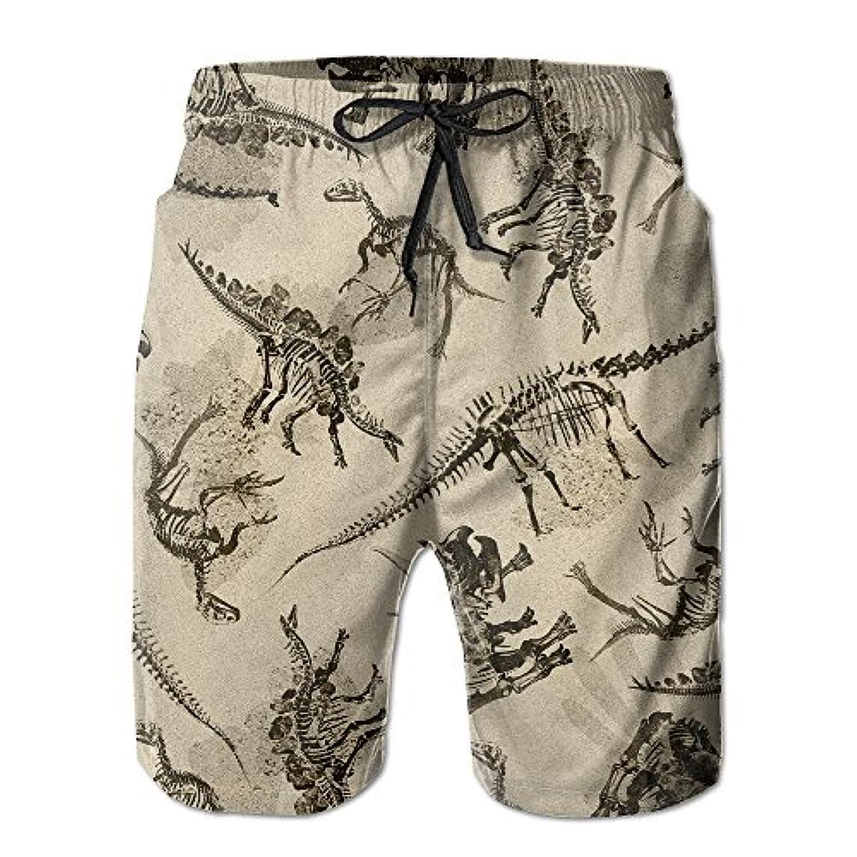 メンズ ビーチショーツ 水着 恐竜 動物 ショートパンツ サーフトランクス スイムショーツ インナーメッシュ付き 通気 速乾
