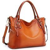 Kattee Women's Genuine Leather Tote Shoulder Bag Top Handle Handbag Crossbody Satchel Purse Large Capacity(Brown)
