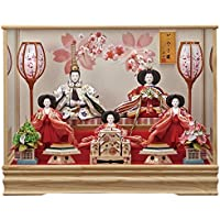 京寿 雛人形 五人飾り ケース飾り 間口62×奥行38×高さ49cm 五人ケース飾り YN0507HC ケース入り 桃の節句 ひな人形