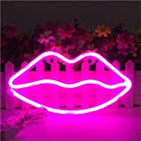 Lip Shape Neon Signs LED Kiss Neon Light Sign Art Wall Decor Lights for Baby Girls Room Bar Wedding Party Supplies, Pink, 854