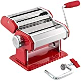GOURMEX Stainless Steel Manual Pasta Maker Machine   with Adjustable Thickness Settings   Perfect for Professional Homemade S