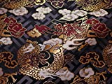 京西陣・金襴 生地 紗綾型地に龍(黒)(動物柄 和柄生地 和柄 和風 よさこい 衣装 布 手芸 インテリア はぎれ)