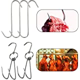 TinaWood 2pcs Stainless Steel Double Hooks + 3pcs S-Hooks for Bacon Hams Meat Processing Butcher Hook Hanging Drying BBQ Gril