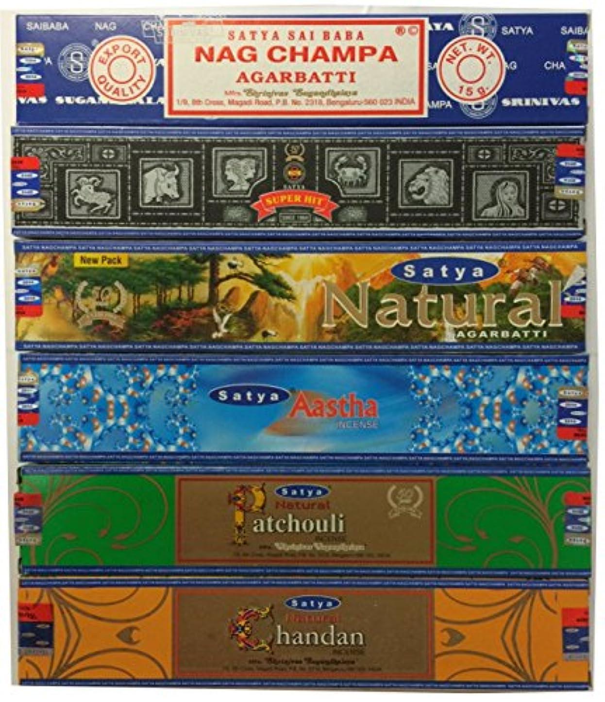 ベンチ覚えている昇るSet of 6 Nag Champa SuperHit自然Aastha Chandan Patchouli By Satya