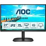 AOC 24B2XDA - 24 Inch FHD Monitor, 75Hz, 4ms, IPS, LowBlue Mode, Slim Design, FlickerFree, Speakers (1920x1080 @ 75Hz, 250cd/