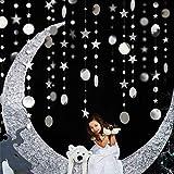 Decor365 Bling Bling Silver Twinkle Star Garland Streamer Kit for Party Decorations Glitter Metallic Circle dot Garland Glitt