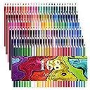 168色セットの中に蛍光ペン 8色 金属ペン 12色すぐに使える 塗り絵の本のためにデザインされて アティスト鉛筆画のスケッチ 大人向けの色鉛筆