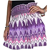 Bohemian Womens Maxi Skirt Cotton Crinkled Block Print Purple Gypsy Resort Holiday Skirts