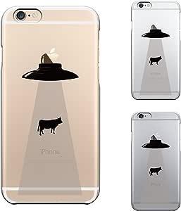 iPhone6 Plus iPhone6S Plus ソフト クリア ケース 保護フィルム付 UFO キャトルミューティレーション
