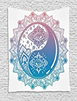 Ying Yang Decor Tapestry By Ambesonne Mandala Round Ombre Pattern With YIn Yang Third Eye Cultural Zen Decor Mystic Asian Art Bedroom Living Room Dorm Decor 40 W x 60 L Inches Pink Blue【クリスマス】【ツリー】 [並行輸入品]