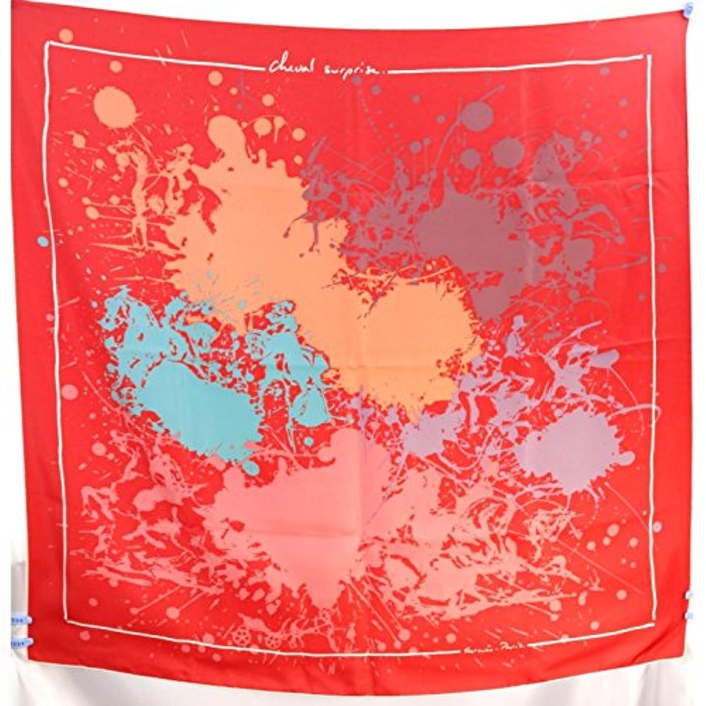 チート抑圧する調停するHERMES(エルメス) 大判スカーフ 赤×ピンク×グリーン他 [中古]