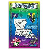 ルイジアナ州状態マップポストカードのセット20identicalはがき。Post Cards with Laマップと状態シンボル。Made In USA。