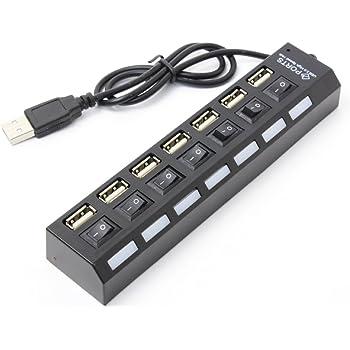 USBハブ スイッチ on off USB2.0 対応 7ポート ポート USB 個別スイッチ ハブ HUB | ER-7HUB (ブラック)