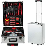 799PCS Tool box, Mechanical Tool kit General Household Hand Tool Sets Trolley Case, Portable House Repair Kit(Silver 38x22x52