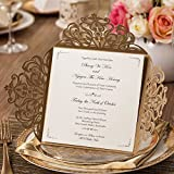 Wishmade Wedding Invitations Cards Gold 50pcs Invite for Quinceanera Baby Shower Engagement Bridal Shower