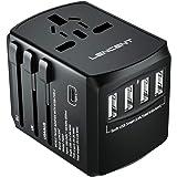 LENCENT Universal Travel Adaptor with UK/USA/EU/AUS Worldwide Travel Charger Plug, 4 USB Ports and 1 Type C International Wal
