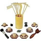 Zen Garden Rake Stamp Tools - Meditation Rock Sand Garden Accessories – Office Desktop Mini Zen Gifts for Man Women Bamboo Ra