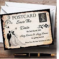 ブラックホワイトヴィンテージ素朴なポストカードPersonalized結婚を保存日付カード 10 Invitations