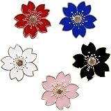 Winzik Novelty Brooch Pin Set 5pcs Pretty Cherry Blossom Sakura Series Pattern Enamel-liked Lapel Pins Set Badges for Women G