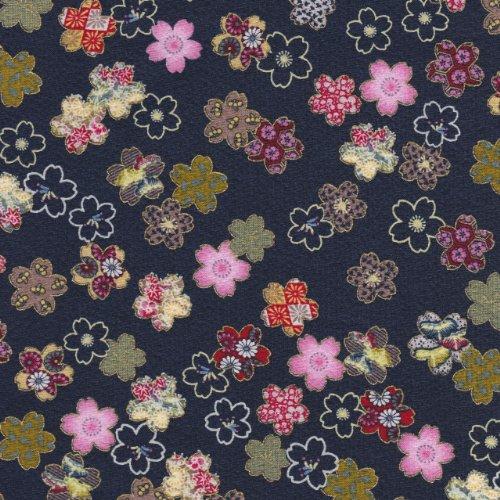 【定番 綿ちりめん風(エンボス)和柄・和調プリント】金粉醍醐桜 4色あります 1m単位で切り売りいたします (紺(コン))