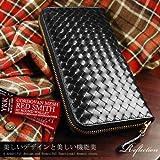 RED SMITH レッドスミス ラウンドファスナー長財布 ブラック メッシュコードバン リフレクション RSX01