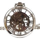 機械式 手巻き 懐中時計 【選べる色】アンティーク 風 全面 スケルトン 【収納袋、化粧箱】両面 ガラス 懐中時計