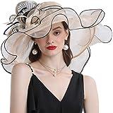 Go Mai Women Hats Organza Butterfly Decoration Wide Brim Occasion Event Kentucky Derby Church Dress Sun Hat