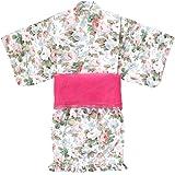 (ケヤカ) Keyaka 浴衣セット 女の子 子供 浴衣ドレス 女児 浴衣 セパレート 帯付き 3点セット フリル 花柄…