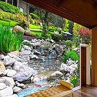 現代の壁紙、リビングルームの背景庭緑植物クリーク壁カバー家の装飾壁画、壁紙208 cm(W)x 146 cm(H)