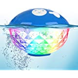 Bluetooth Speakers with Colorful Lights, Portable Speaker IPX7 Waterproof Floatable, Built-in Mic,Crystal Clear Stereo Sound