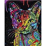 5D DIY 自分でやる番号による絵画ダイヤモンド塗りつぶしドローイング-色付きの猫(30x40cm)
