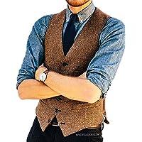 JinXi Herringbone Six Button Mens Slim Trim Fit Tuxedos Suits Vest