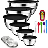 Mixing Bowls with Airtight Lids, 20PCS Stainless Steel Mixing Bowls Set, Nesting Bowls with 3 Grater Attachments & Non-Slip B