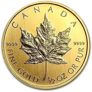 【メイプルリーフ 金貨】 メイプル金貨 1/2オンス クリアケース入り カナダ王室造幣局発行 15.5gの純金 24金 地金型金貨 ゴールド コイン (ランダム・イヤー) 保証書付き