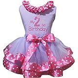 Petitebella Girls' My 2Nd Birthday Shirt Dots Hot Pink Petal Skirt