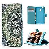 【Badalink】Huawei P9 lite ケース 手帳型 スタンド機能付 カードポケット付き 財布型 上絵 PUレザー トーテム