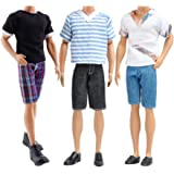 E-TING 9 Items =3 Fashion Casual Tops Wear Clothes Outfits +3 Pants Jeans Trousers +3 Shoes for Boy Dolls Clothing Costume