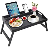 Bed Tray Table with Handles Folding Legs Bamboo Breakfast Food Tray with Media Slot,Foldable Platter Tray,Laptop Desk,Snack,T