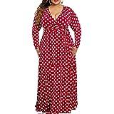 VERWIN Plus Size Dress for Women Loose Polka Dot Women's Dress V Neck Vintage Maxi Dress
