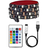 VIPMOON LED TV Backlights with 16 Colors,Waterproof 5V USB Powered LED Light Strip with RF Remote for Flat Screen TV PC