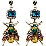 Green Rhinestone Insect Earrings Personnality Bee Fly Drop Earrings