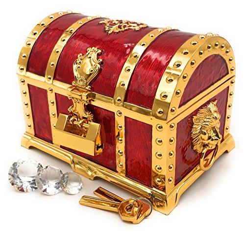 まるで海賊の宝箱 アンティーク 宝石箱 ジュエリーボックス レトロな鍵と水晶ダイヤ3種付き 小物入れ インテリア 置物 オブジェ プレゼント ドラクエ 宝箱 宝石 レトロ (赤,大)