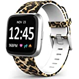 TreasureMax Compatible with Fitbit Versa Bands for Women/Men,Silicone Fadeless Pattern Printed Floral Bands for Fitbit Versa