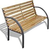 vidaXL Garden Bench with Wood Slats Iron Frame Outdoor Seating Patio Furniture
