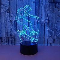 スケートボードスポーツ3Dナイトランプカラフルなタッチリモートコントロールランプギフト雰囲気3D Led小さなテーブルランプ