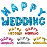 Blesiya HAPPY WEDDING 結婚式 箔空気 ヘリウム 風船 ブライダル 結婚式の装飾 光沢のある デコレーション 全2色 - シャイニーシルバー