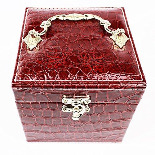 HIROMARUjp クロコ レトロ 調 ジュエリーボックス 三段 アクセサリーボックス ワインレッド