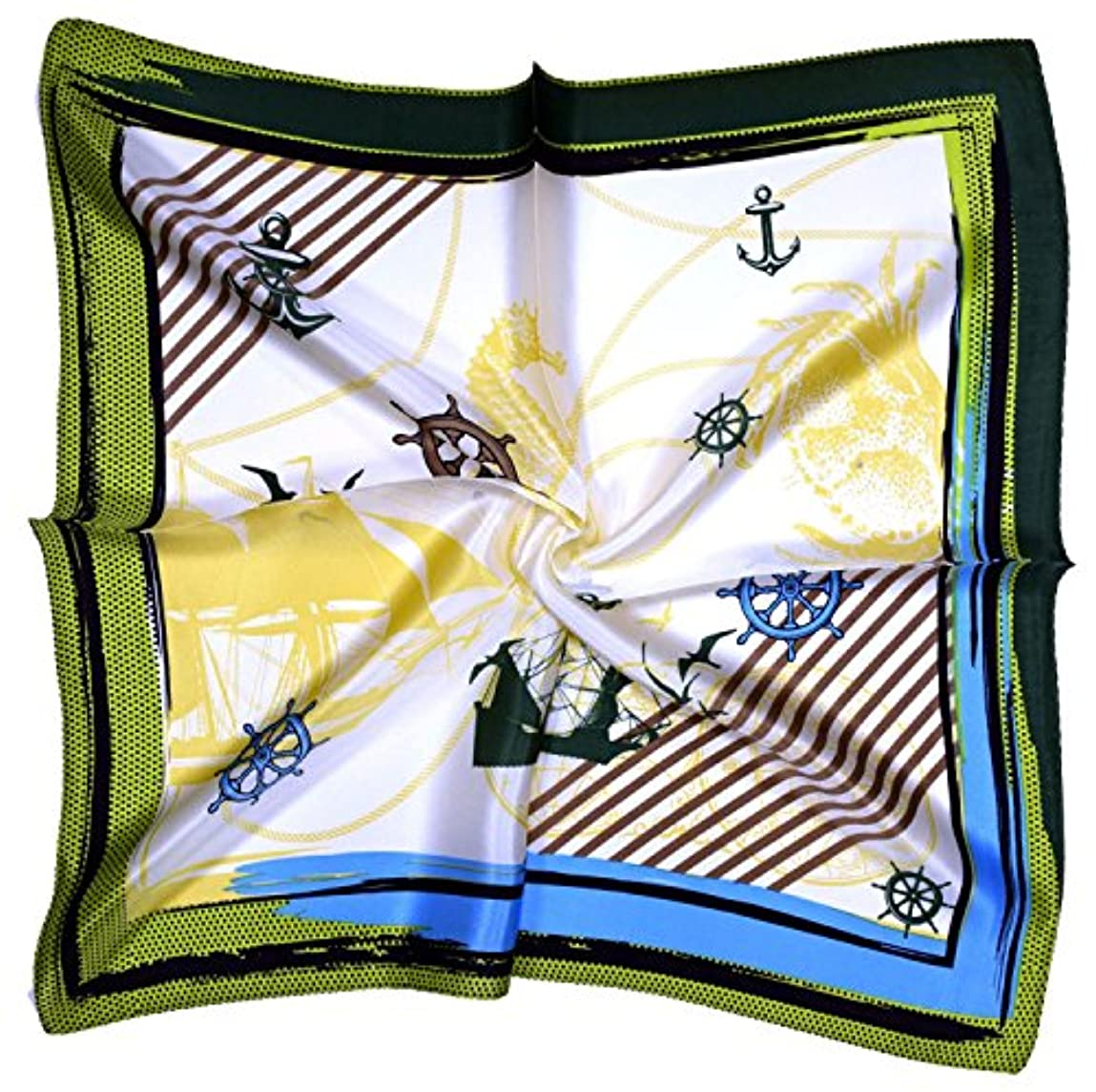 店主哲学価値クリームグリーンアンカー印刷厚い小さな正方形シルクスカーフ