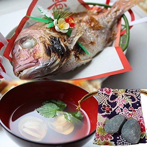 お食い初め 料理 セット(シンプル) ( 天然鯛 はまぐり 歯固め石もしくはタコ足 ) (鯛、はまぐり、歯固...