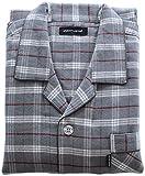 (コモグッド) CoMo Good パジャマ メンズ 長袖 綿100 フランネル 前開き 上下 セット チェック柄 グレー L PJ043